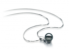 Vivian Black 8-9mm AAA Quality Japanese Akoya 14K White Gold Cultured Pearl Pendant
