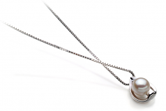 Amanda White 6-7mm AA Quality Japanese Akoya 925 Sterling Silver Cultured Pearl Pendant