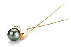 Dominique Black 10-10.5mm AAA Quality Tahitian 14K Yellow Gold Cultured Pearl Pendant