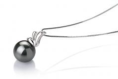 Amara Black 10-10.5mm AAA Quality Tahitian 14K White Gold Cultured Pearl Pendant