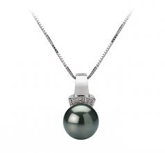 Vivian Black 8-9mm AAA Quality Tahitian 14K White Gold Cultured Pearl Pendant