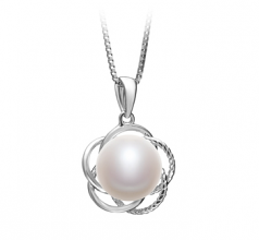Bobbie White 9-10mm AA Quality Freshwater 925 Sterling Silver Cultured Pearl Pendant