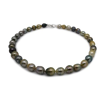16-inch Multicolour 8-10mm Baroque Quality Tahitian 925 Sterling Silver Cultured Pearl Necklace