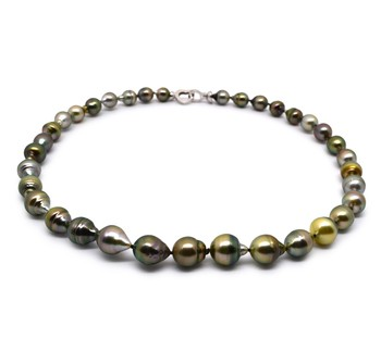17-inch Multicolour 8-10mm Baroque Quality Tahitian 925 Sterling Silver Cultured Pearl Necklace