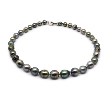 17-inch Multicolour 8-11mm Baroque Quality Tahitian 925 Sterling Silver Cultured Pearl Necklace
