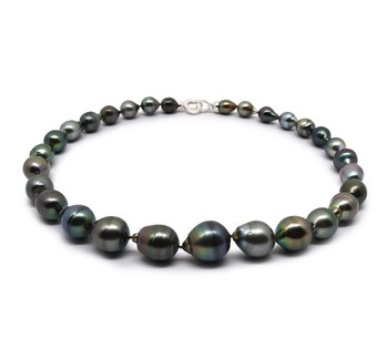 17-inch Multicolour 8-14mm Baroque Quality Tahitian 925 Sterling Silver Cultured Pearl Necklace