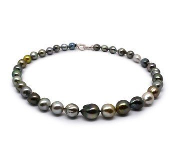 17-inch Multicolour 9-12mm Baroque Quality Tahitian 925 Sterling Silver Cultured Pearl Necklace