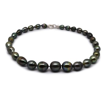17-inch Multicolour 9-13mm Baroque Quality Tahitian 925 Sterling Silver Cultured Pearl Necklace