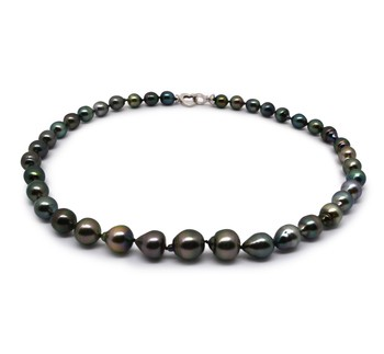 17.5-inch Multicolour 8-11mm Baroque Quality Tahitian 925 Sterling Silver Cultured Pearl Necklace