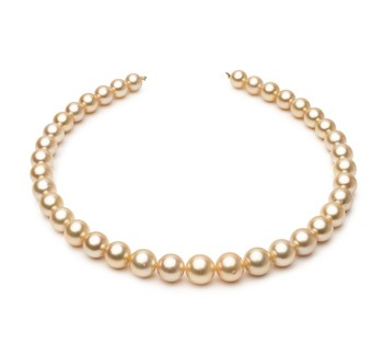 18-inch Gold 9.6-12.6mm AA+ Quality South Sea 14K Yellow Gold Cultured Pearl Necklace