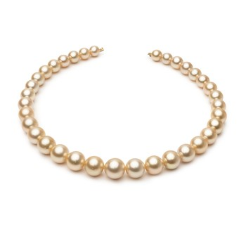 18-inch Gold 9.3-13.3mm AA Quality South Sea 14K Yellow Gold Cultured Pearl Necklace