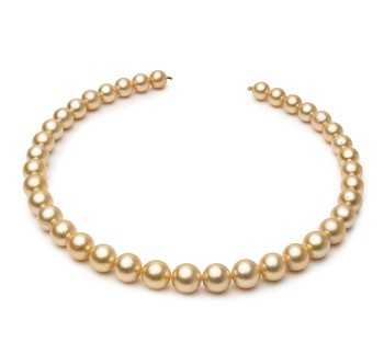 18-inch Gold 9.5-11.9mm AA Quality South Sea 14K Yellow Gold Cultured Pearl Necklace