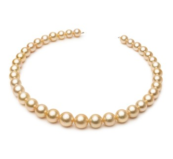 18-inch Gold 9.7-13.9mm AA Quality South Sea 14K Yellow Gold Cultured Pearl Necklace