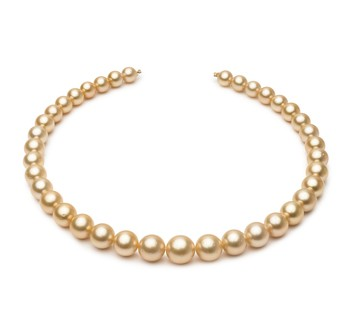 18-inch Gold 9.2-12.8mm AA Quality South Sea 14K Yellow Gold Cultured Pearl Necklace