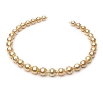 Golden 18-inch Gold 10.1-12.5mm Baroque Quality South Sea 14K Yellow Gold Cultured Pearl Necklace