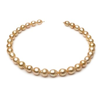 18-inch Gold 10.1-12.5mm Baroque Quality South Sea 14K Yellow Gold Cultured Pearl Necklace
