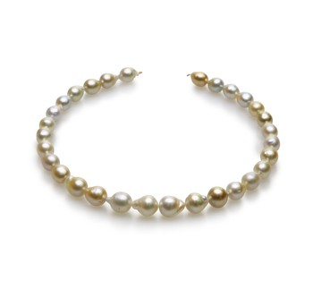 18-inch Multicolour 10-13mm Baroque Quality South Sea 14K Yellow Gold Cultured Pearl Necklace