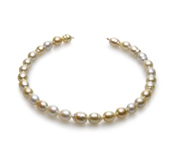 18-inch Multicolour 10.4-13mm Baroque Quality South Sea 14K Yellow Gold Cultured Pearl Necklace