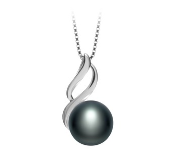 Adalia Black 10-11mm AAA Quality Freshwater 925 Sterling Silver Cultured Pearl Pendant