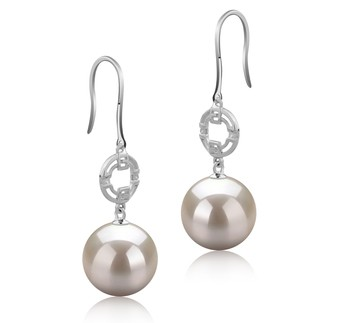 Adelle White 10-11mm AAAA Quality Freshwater 925 Sterling Silver Cultured Pearl Earring Pair