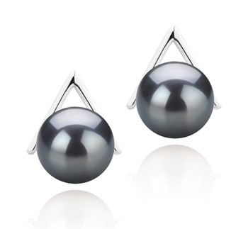 Africa Black 8-9mm AAAA Quality Freshwater 925 Sterling Silver Cultured Pearl Earring Pair