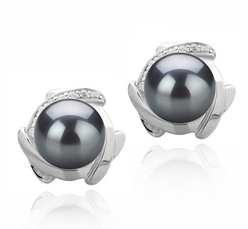Alba Black 8-9mm AAAA Quality Freshwater 925 Sterling Silver Cultured Pearl Earring Pair
