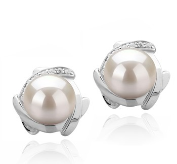Alba White 8-9mm AAAA Quality Freshwater 925 Sterling Silver Cultured Pearl Earring Pair