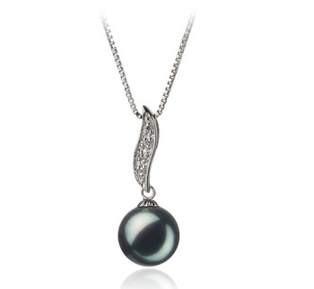 Alicia Black 9-10mm AA Quality Freshwater 925 Sterling Silver Cultured Pearl Pendant