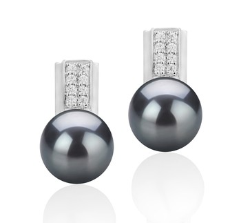Alina Black 8-9mm AAA Quality Freshwater 925 Sterling Silver Cultured Pearl Earring Pair