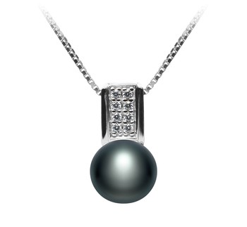Alina Black 8-9mm AAA Quality Freshwater 925 Sterling Silver Cultured Pearl Pendant