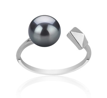 Alma Black 7-8mm AAAA Quality Freshwater 925 Sterling Silver Cultured Pearl Ring