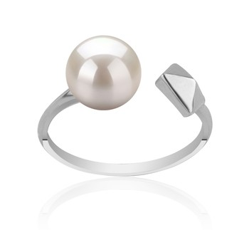Alma White 7-8mm AAAA Quality Freshwater 925 Sterling Silver Cultured Pearl Ring