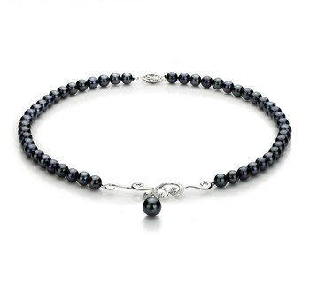 Almira Black 6-9mm AA Quality Japanese Akoya 925 Sterling Silver Cultured Pearl Necklace