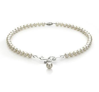 Almira White 6-10mm AA Quality Freshwater 925 Sterling Silver Cultured Pearl Necklace