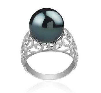 Alva Black 12-13mm AA Quality Tahitian 925 Sterling Silver Cultured Pearl Ring
