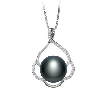 Alyssa Black 12-13mm AA Quality Freshwater 925 Sterling Silver Cultured Pearl Pendant