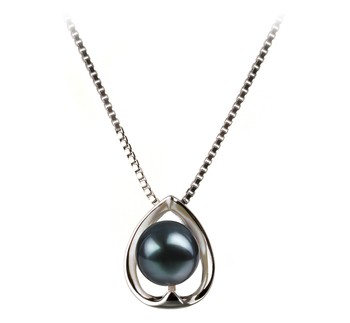 Amanda Black 6-7mm AA Quality Japanese Akoya 925 Sterling Silver Cultured Pearl Pendant