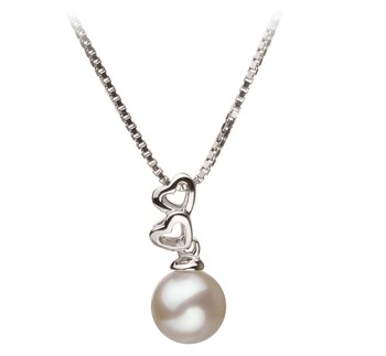 Amber White 6-7mm AA Quality Japanese Akoya 925 Sterling Silver Cultured Pearl Pendant