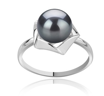 Anais Black 8-9mm AAA Quality Freshwater 925 Sterling Silver Cultured Pearl Ring