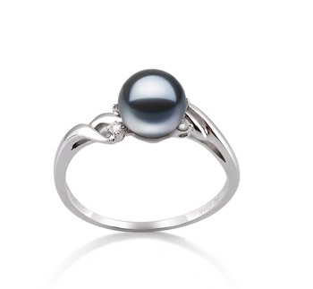 Andrea Black 6-7mm AAAA Quality Freshwater 14K White Gold Cultured Pearl Ring