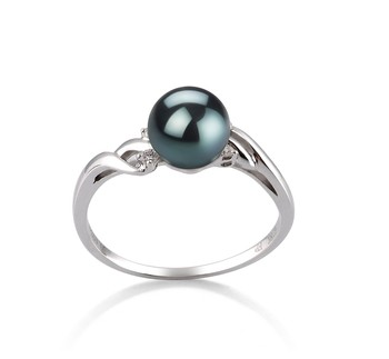 Andrea Black 6-7mm AAA Quality Japanese Akoya 14K White Gold Cultured Pearl Ring