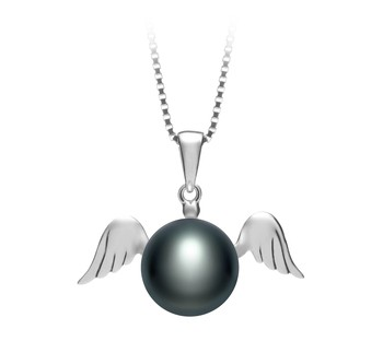 Angel Black 9-10mm AA Quality Freshwater 925 Sterling Silver Cultured Pearl Pendant