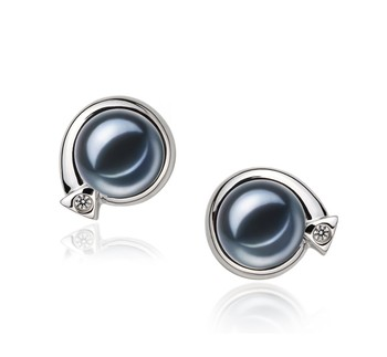 Angelina Black 7-8mm AAAA Quality Freshwater 925 Sterling Silver Cultured Pearl Earring Pair