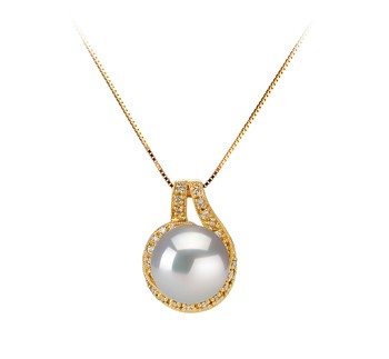 Angelique White 10-11mm AAA Quality South Sea 14K Yellow Gold Cultured Pearl Pendant
