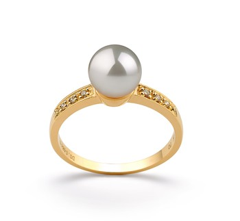Anne White 7.5-8mm AAA Quality Japanese Akoya 14K Yellow Gold Cultured Pearl Ring
