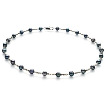Atina Black 6-7mm A Quality Freshwater Cultured Pearl Necklace