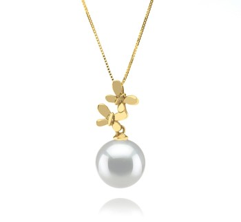 Barbara White 10-11mm AAA Quality South Sea 14K Yellow Gold Cultured Pearl Pendant