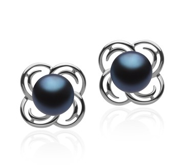 Bella Black 7-8mm AA Quality Freshwater 925 Sterling Silver Cultured Pearl Earring Pair