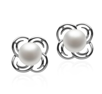 Bella White 7-8mm AA Quality Freshwater 925 Sterling Silver Cultured Pearl Earring Pair