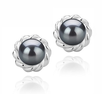Bessie Black 8-9mm AAAA Quality Freshwater 925 Sterling Silver Cultured Pearl Earring Pair